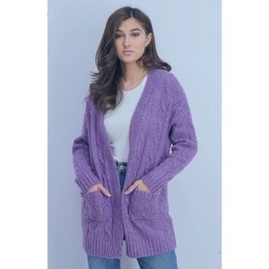 4SI3NNA Cable Knit Open Cardigan
